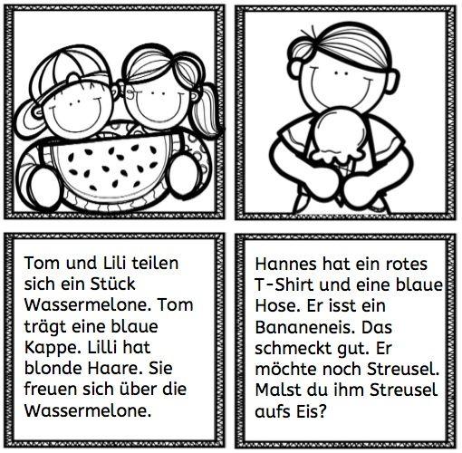 Ganz kurze Lesetexte: Eis und Wassermelone #Lesen #