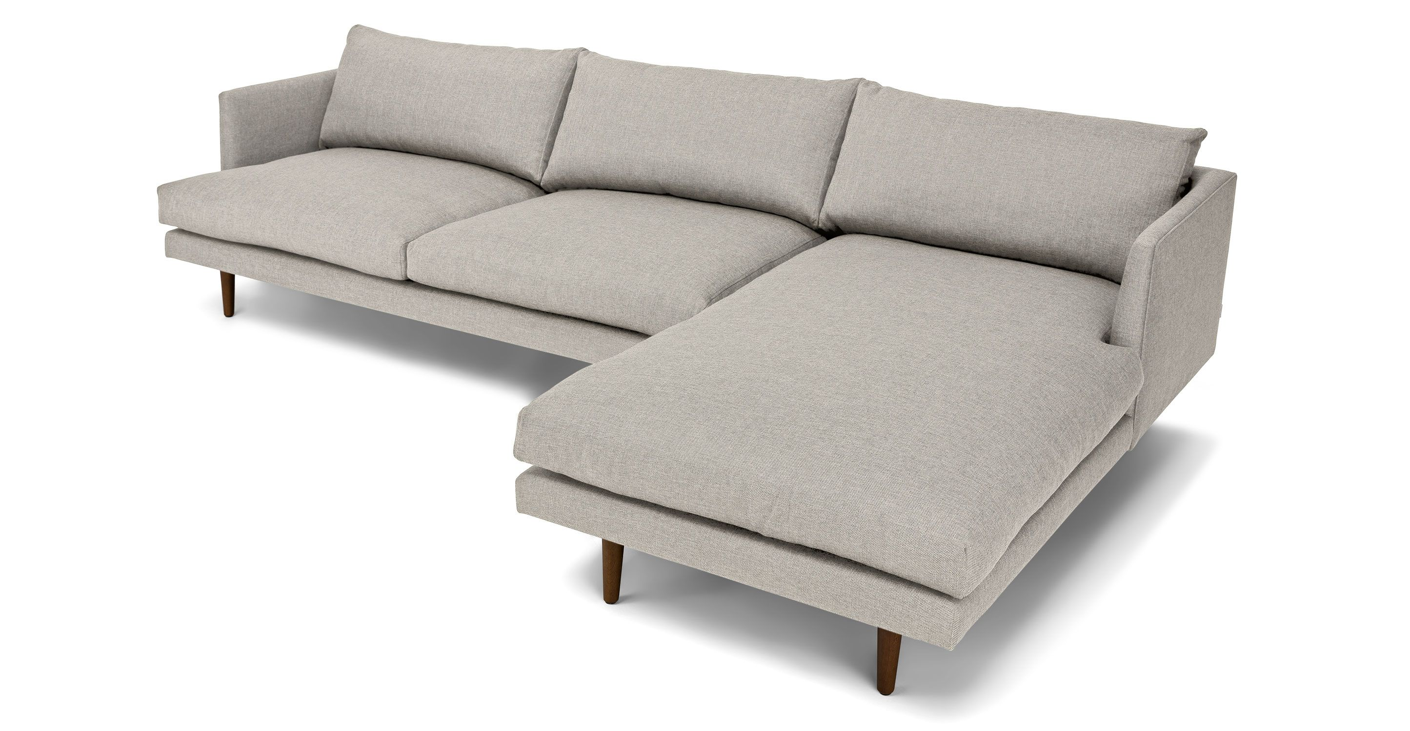 Light Gray Right Sectional Sofa Upholstered
