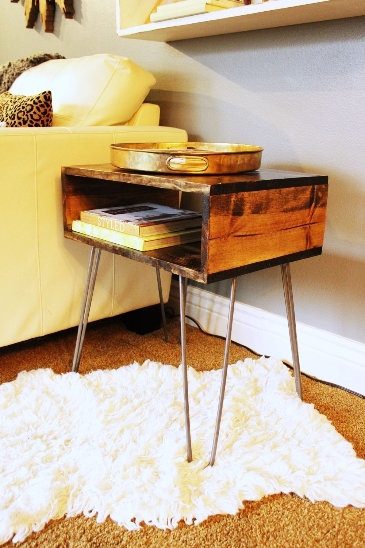 Diy hairpin leg side table coffee table plans diy end
