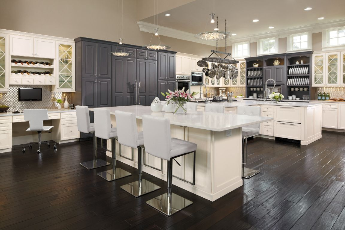 This Kitchen Has It All Omega Custom Cabinets With Builtin Desk - Custom kitchen cabinets design