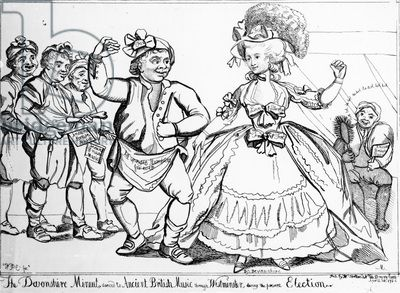 The Devonshire Minuet, danced to Ancient British Music through Westminster during the Election, print made by William Paulet Carey, 1784 (engraving). A satire of Georgiana, Duchess of Devonshire (1757-1806) as she was canvassing for Charles James Fox (1749-1806) in the Westminster Election of 1784. It was widely reported in the press that the Duchess had given a butcher (seen here dancing beside Her Grace) a kiss in exchange for a vote for Fox.