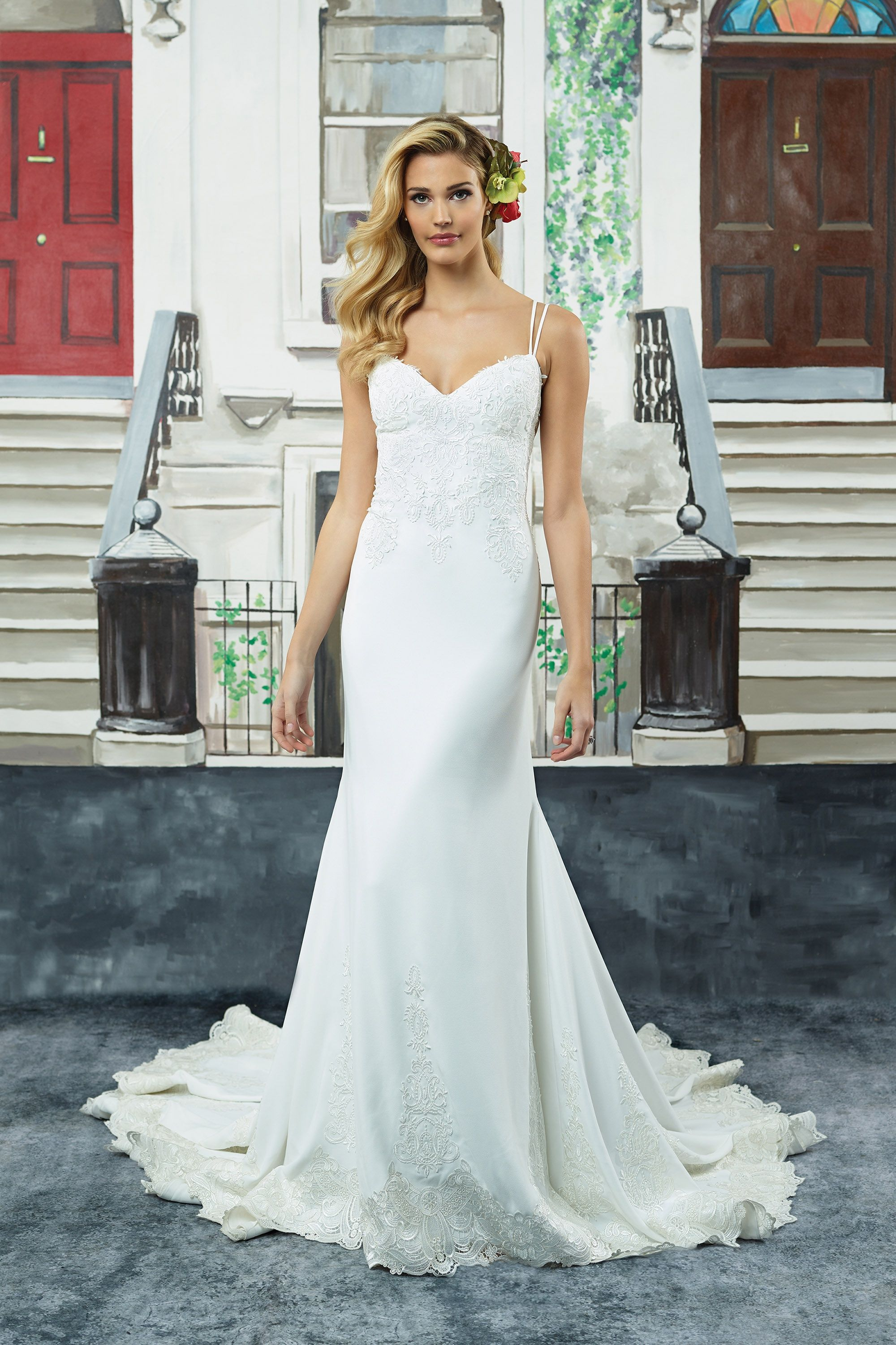 Embroidered lace wedding dress  Embroidered Lace Crepe Fit and Flare Gown with Dual Spaghetti Straps