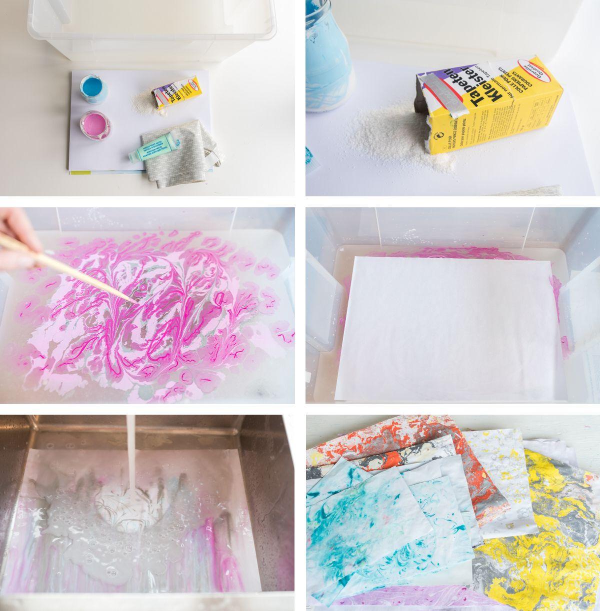 diy - papier marmorieren und deko für die wand | diy papier, Wohnzimmer dekoo