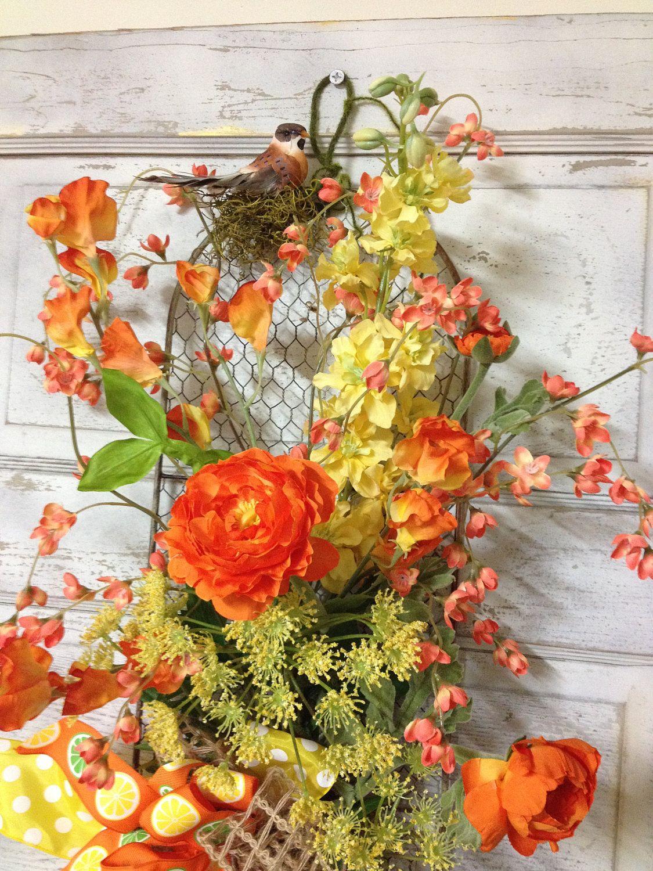 Bright orange u yellow door design spring summer door wall wreath