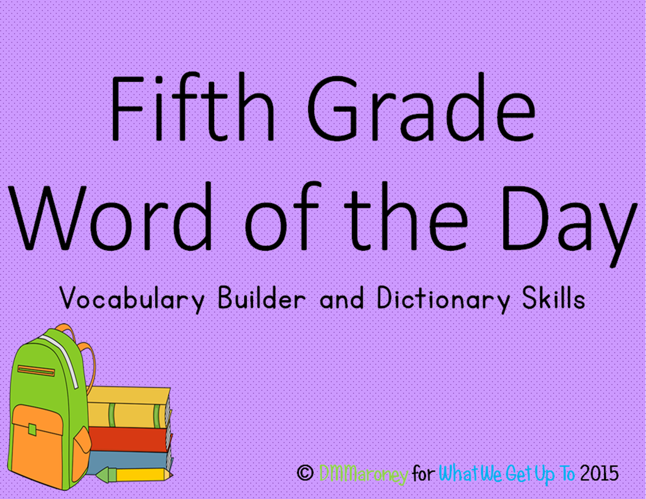 Fifth Grade Word Of The Day And Vocabulary Builder