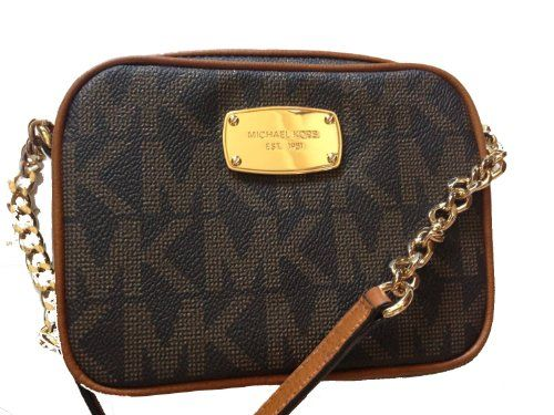 Michael Kors Hamilton Brown Mk Signature Crossbody Bag