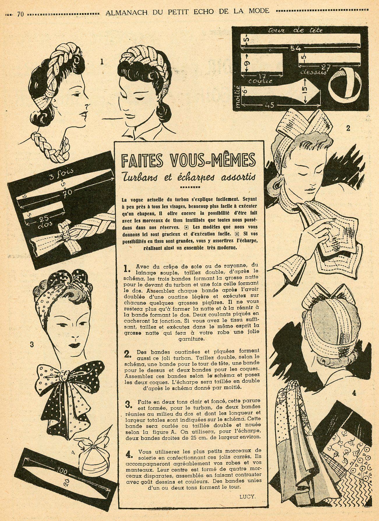 Almanach du Petit Echo de la Mode - 1942 - les turbans sont restés à ...