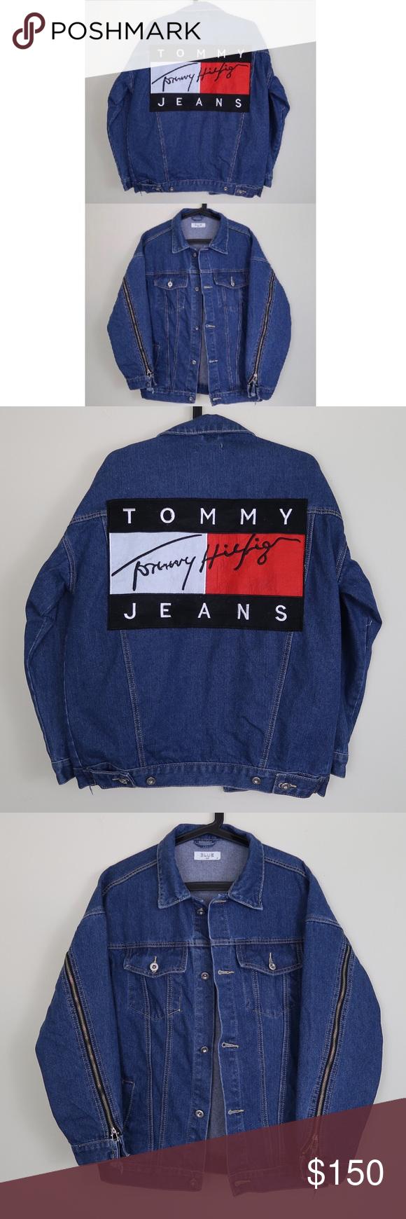 Medium Wash Denim Jacket w/ Tommy Hilfiger Patch Distressed medium ...