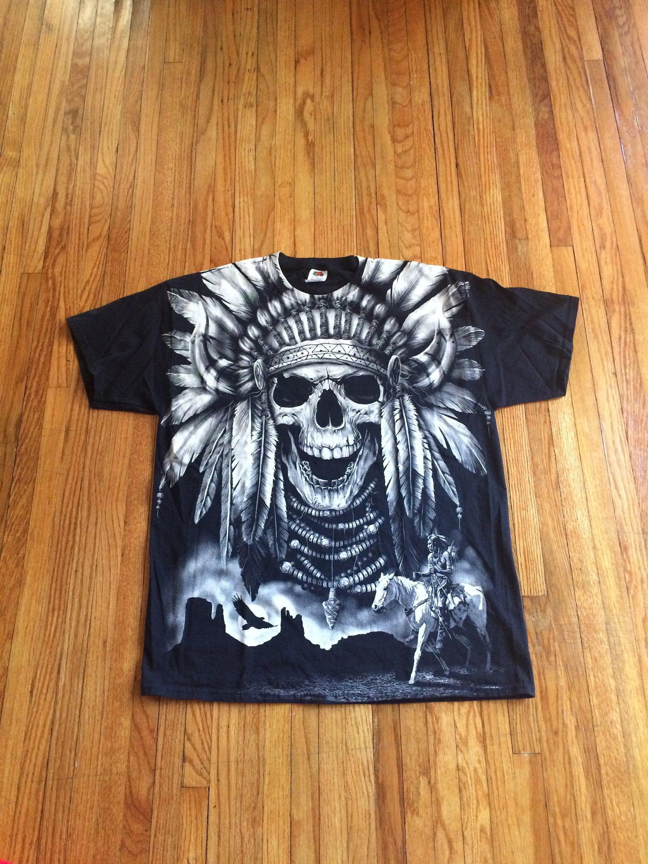 50811f74b3 Vintage 90's Full Front Print Native American Chief Skeleton Spirit ...