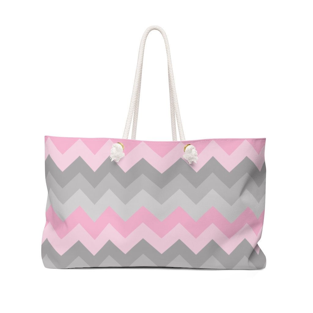 WEEKENDER BAG PINK Chevron Girls Women Beach Tote Overnight Bag - Large Sports Bag - Womens Large Carry On Purse