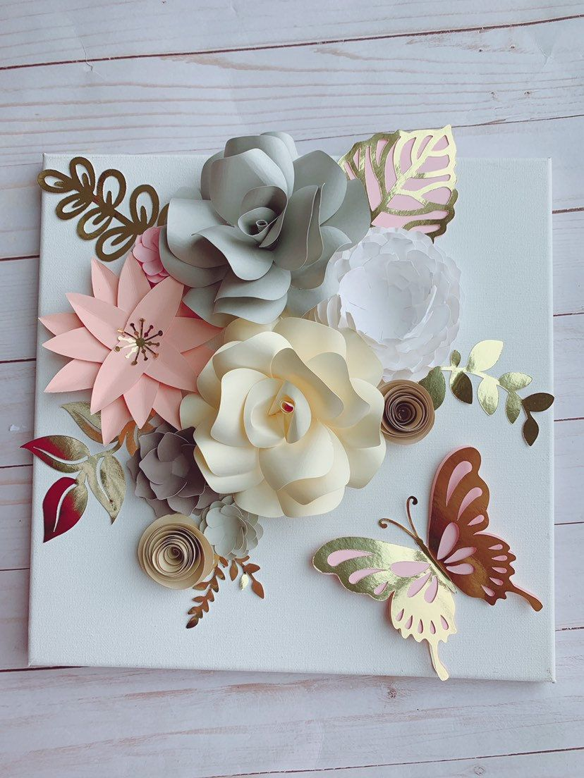Canvas 12x12, paper flower canvas, paper hydrangeas, paper roses, paper flowers wall art, paper flowers decor, paper flowers frame #easypaperflowers