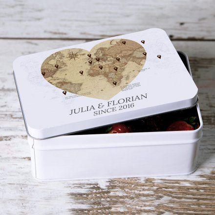 Personello Personalisierbare Geschenkdose Mit Weltkartenmotiv Zur Hochzeit Manualidades