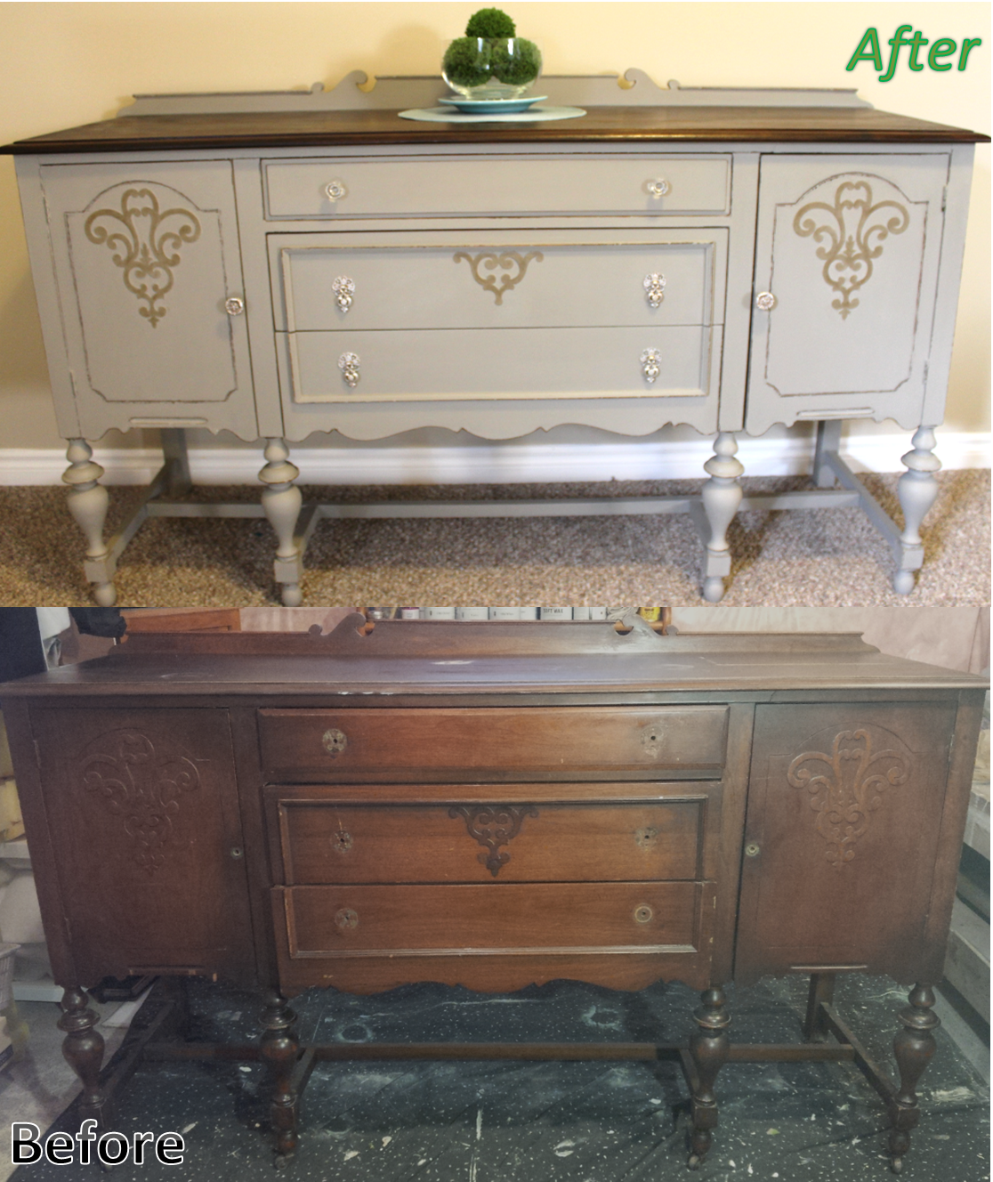Antique Solid Cherry Refinished Sideboard Buffet. Annie