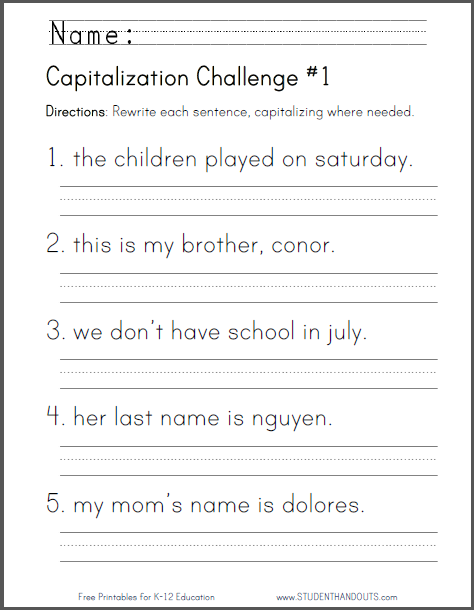 capitalization challenge worksheets free to print pdf files for lower elementary ela english language arts students