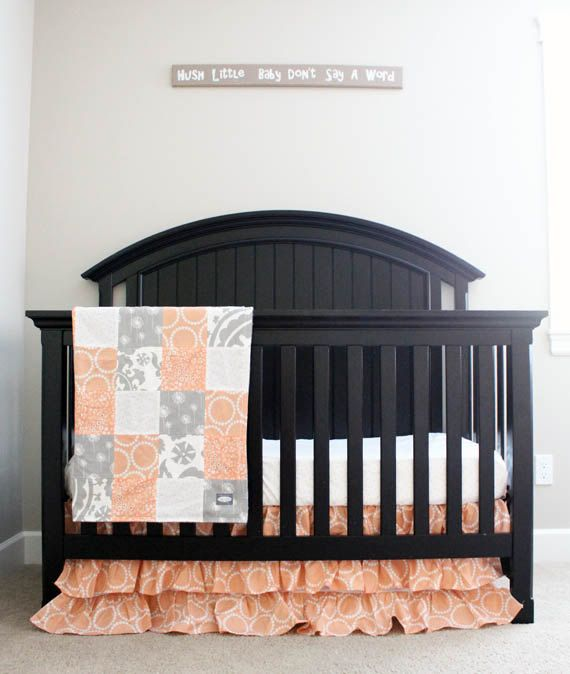 custom crib bedding peach and grey baby bedding by