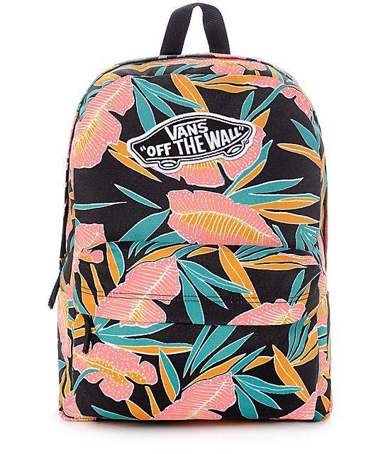 65e1c619f9 Vans Real Black Tropical Women s Backpack