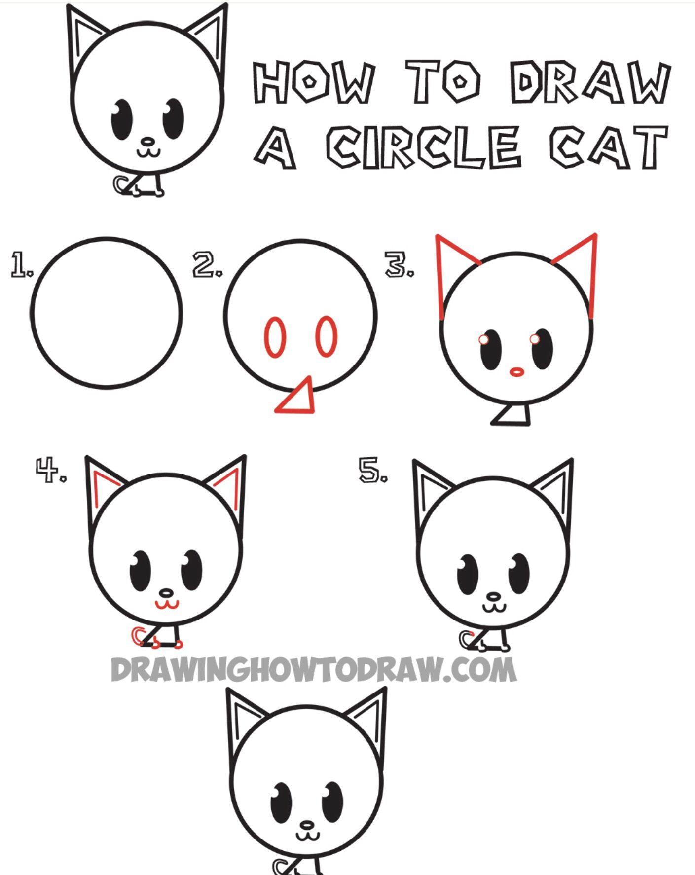 Circle Cat For Beginners Easy Animal Drawings Draw Animals For Kids Animal Drawings