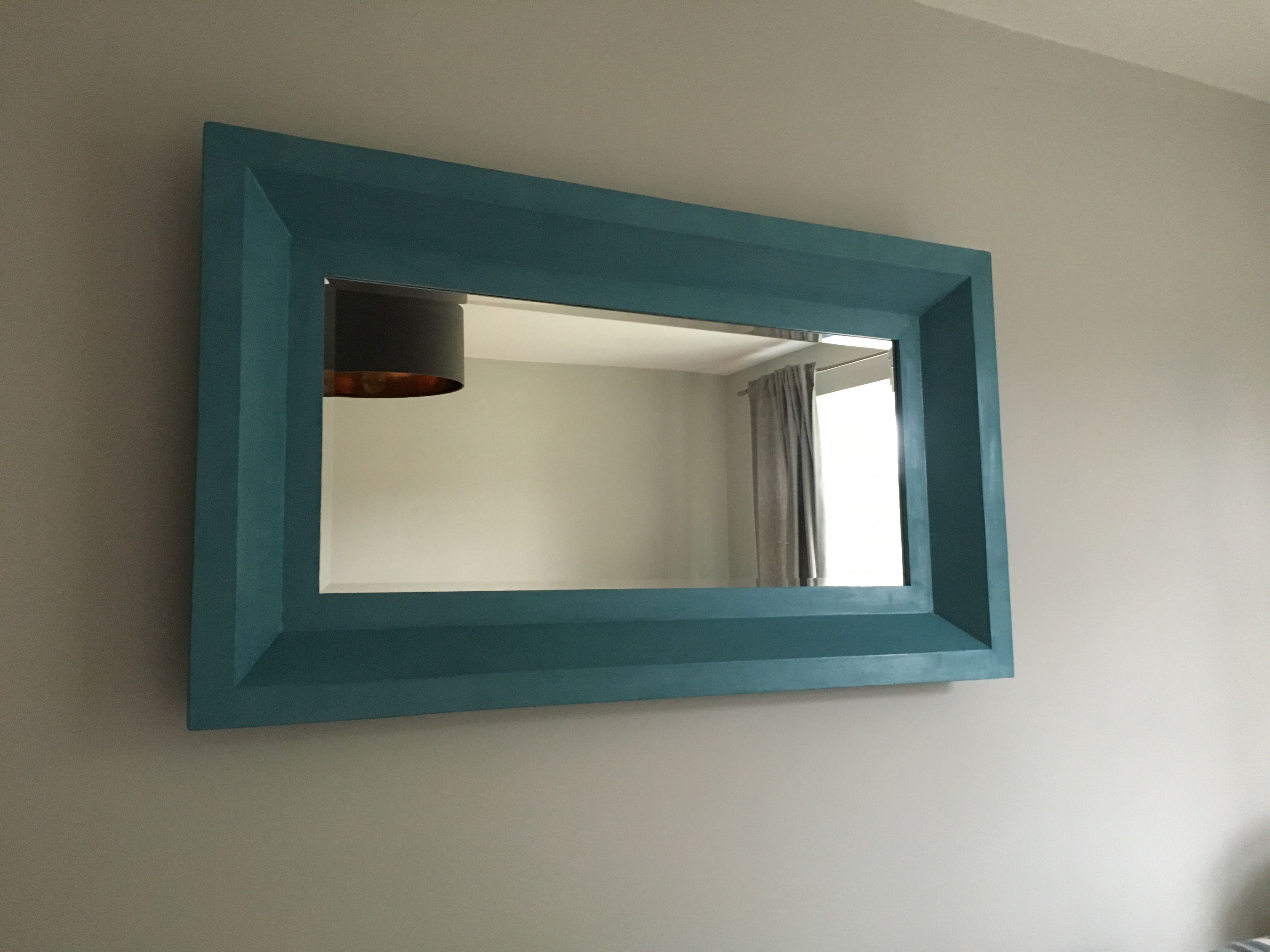 Mirror Upscale With Rust Oleum Belgrave Blue Chalk Paint
