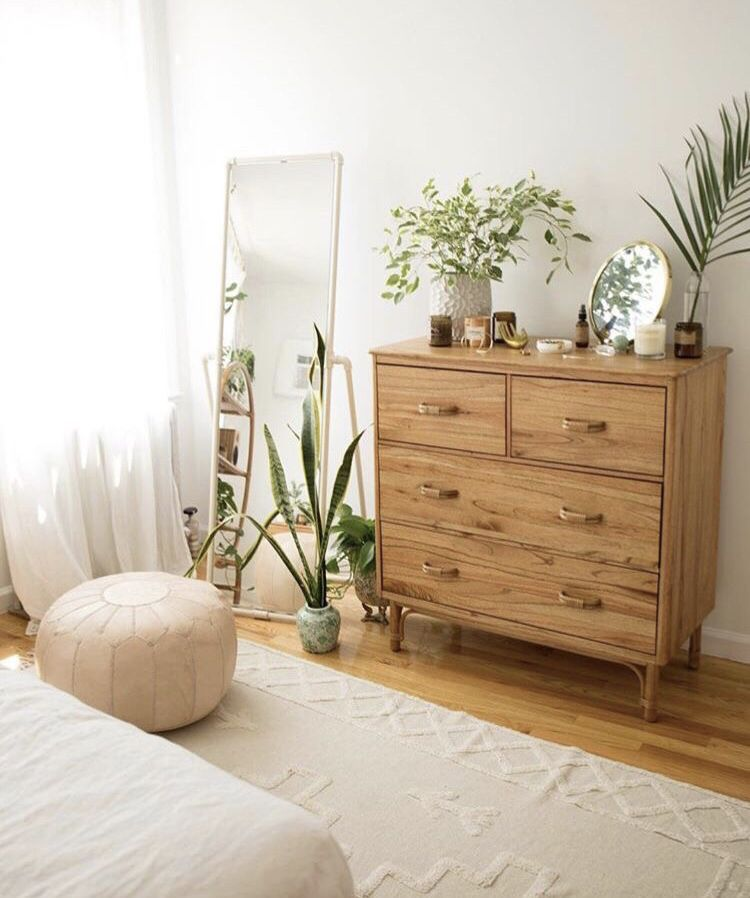 Photo of simple organic design dresser with plant accents and neutral colours. love the simple, light and airy feeling. #collageboard