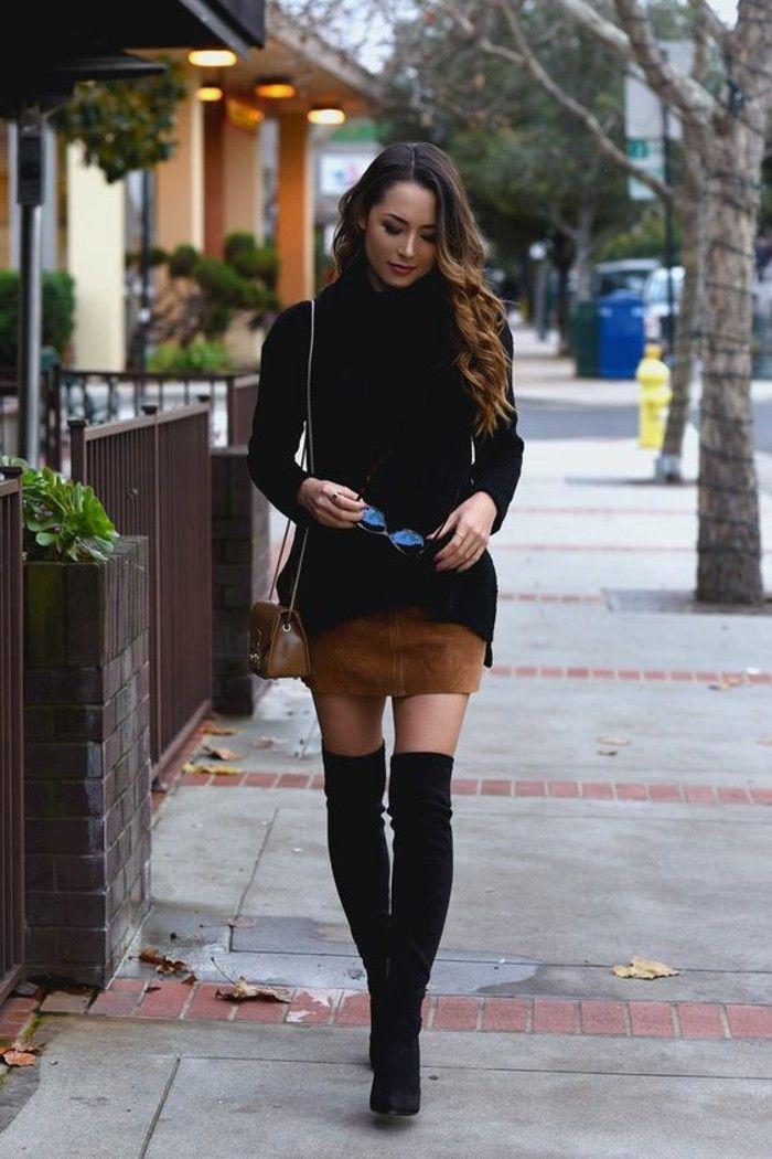 vestirsi-alla-moda-donna-mini-gonna-marrone-maglione-nero-stivali-alti-neri-borsa-tracolla  | ANIMALS | Pinterest | Dress codes, Knee boot and Mini skirts