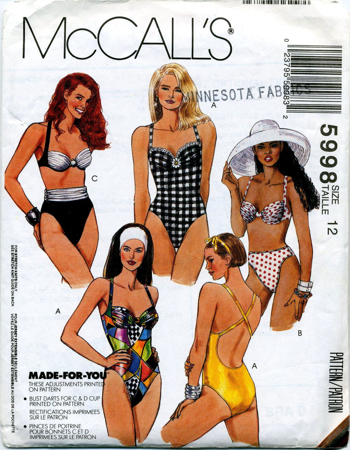 Vintage Misses\' Swimsuits, Bikinis McCall\'s Sewing Pattern No. 5998 ...
