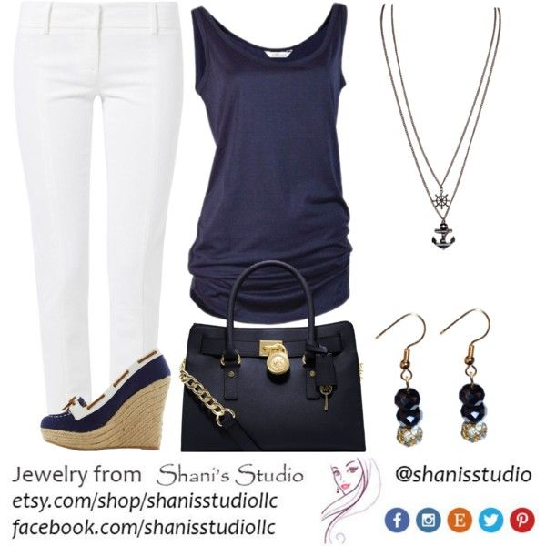 Navy and White, created by shanis-studio on Polyvore