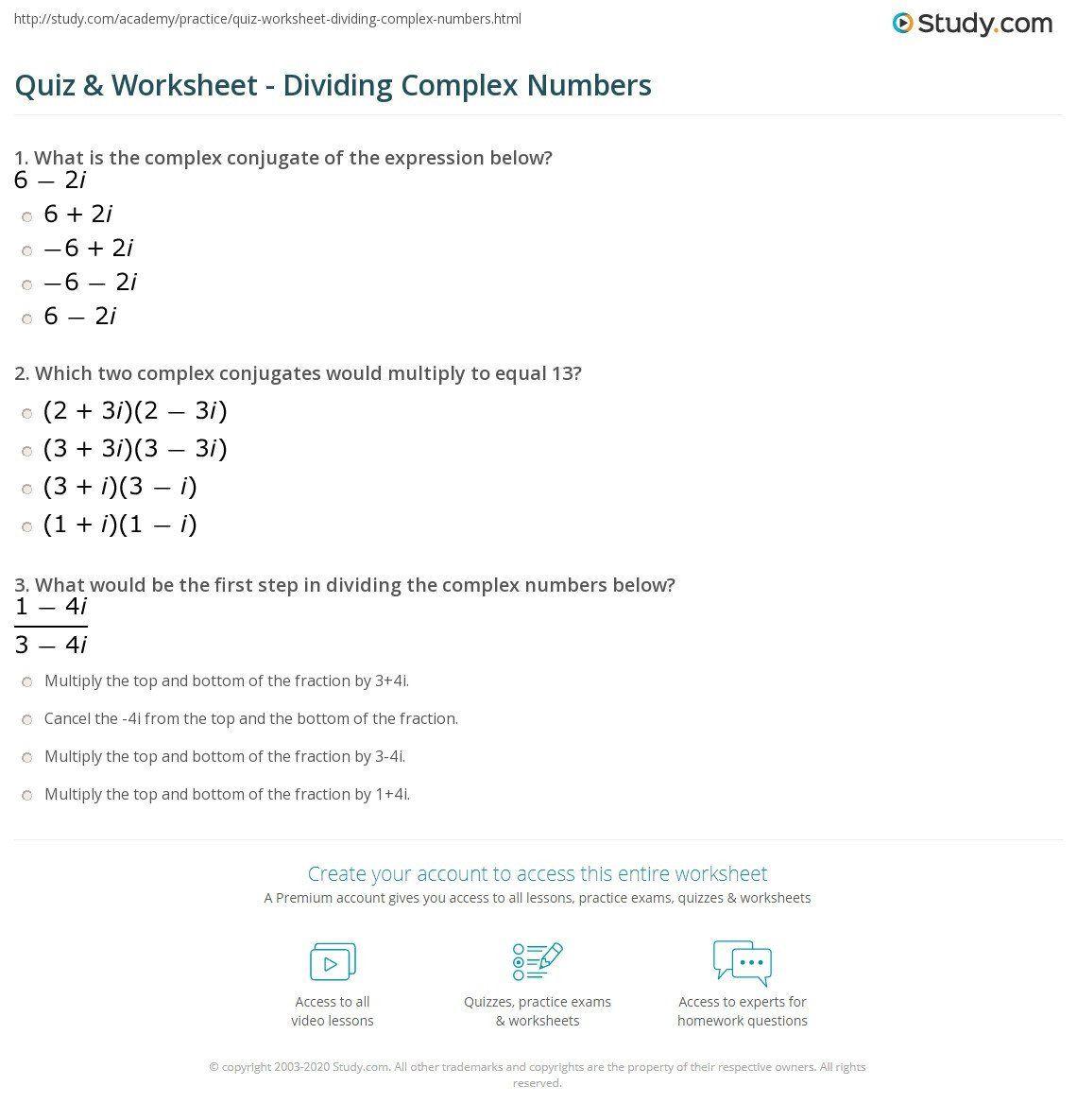 Dividing Complex Numbers Worksheet Quiz Amp Worksheet