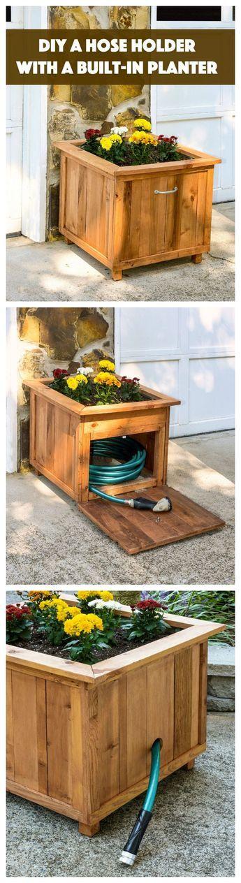 DIY Pallet Wood Hose Holder with Planter | Bancos y Organizadores
