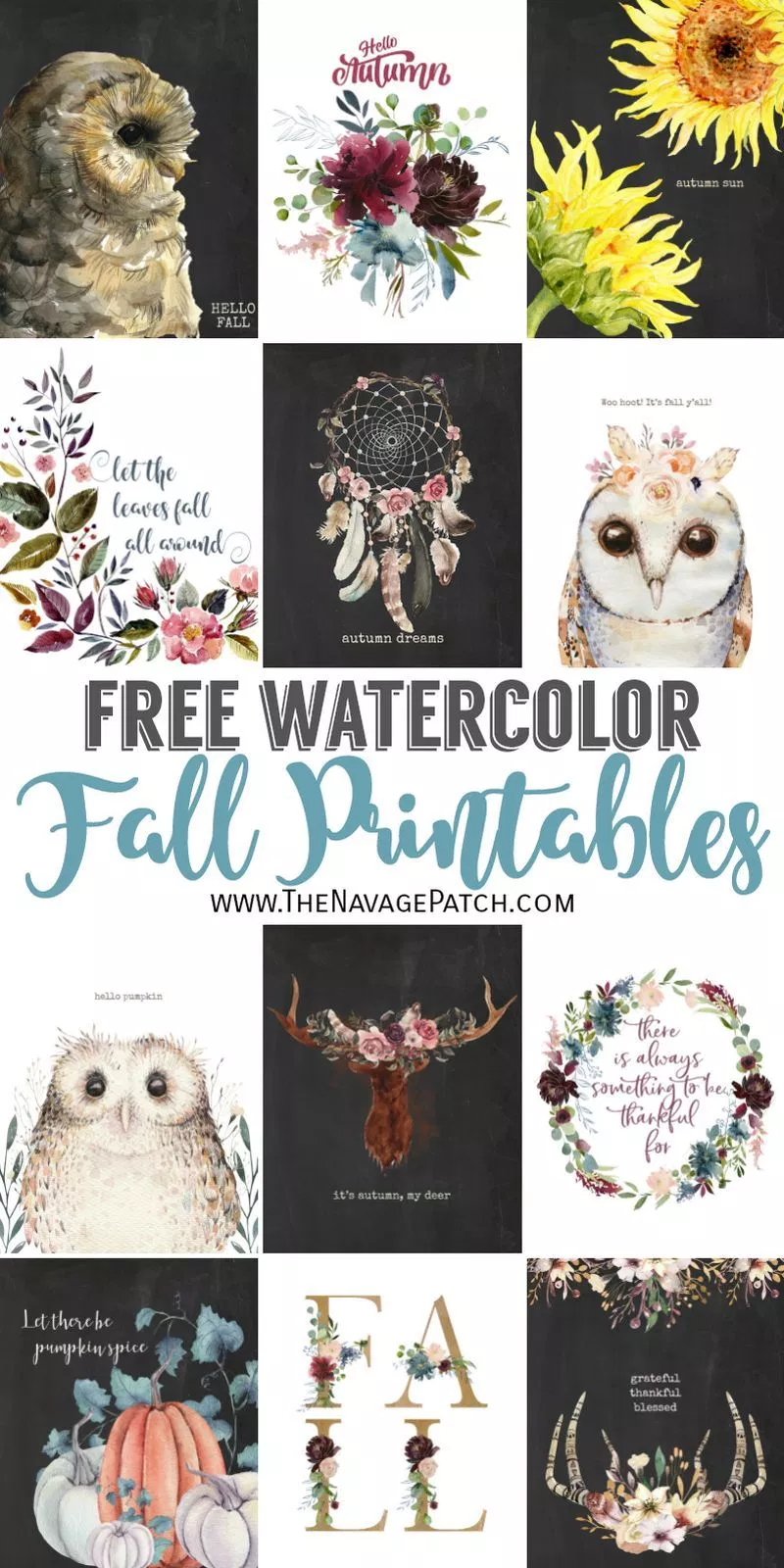 Free Watercolor Fall Printables