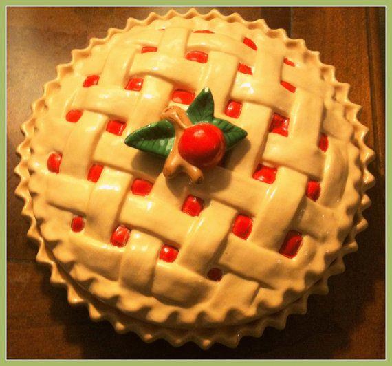 Vintage Pie Dish Ceramic Bakeware Cherry Pie by PricklyPawVintage & Vintage Pie Dish Ceramic Bakeware Cherry Pie Plate Collectible ...