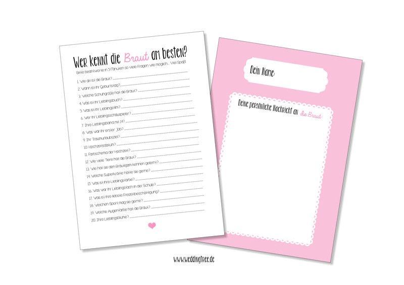 Hochzeitskarten - JGA Junggesellinnenabschied Spiel - ein Designerstück von Be-nice-4-you bei DaWanda