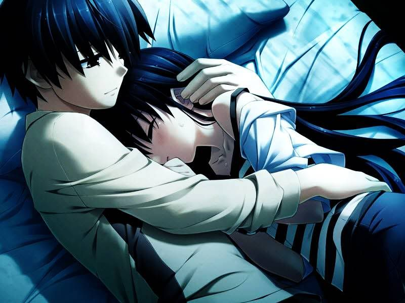 Cute Anime Couple Sleeping Together Girl Wrap In Her Boyfriend And