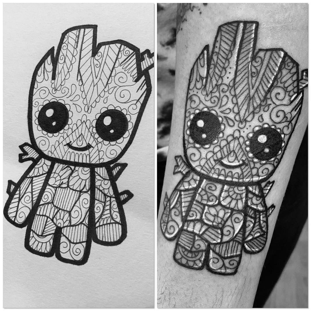 I am groot design and fresh black tattoodesign