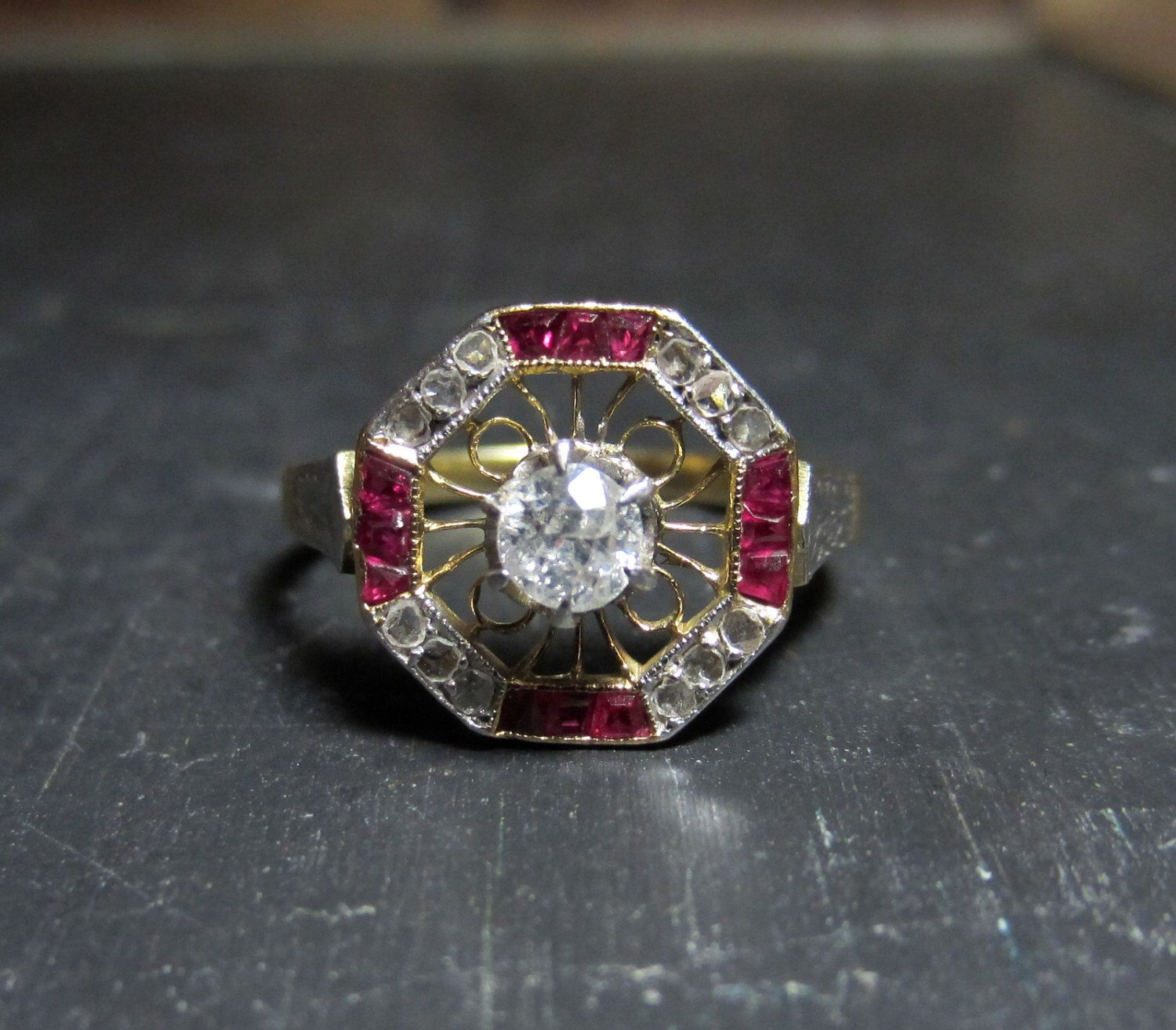 Antique Engagement Ring, Art Deco Old Euro Diamond .20ct and Ruby/Diamond Frame Ring 14k c. 1920, Vintage Engagement Ring, Edwardian Ring by BavierBrook on Etsy https://www.etsy.com/listing/485914549/antique-engagement-ring-art-deco-old
