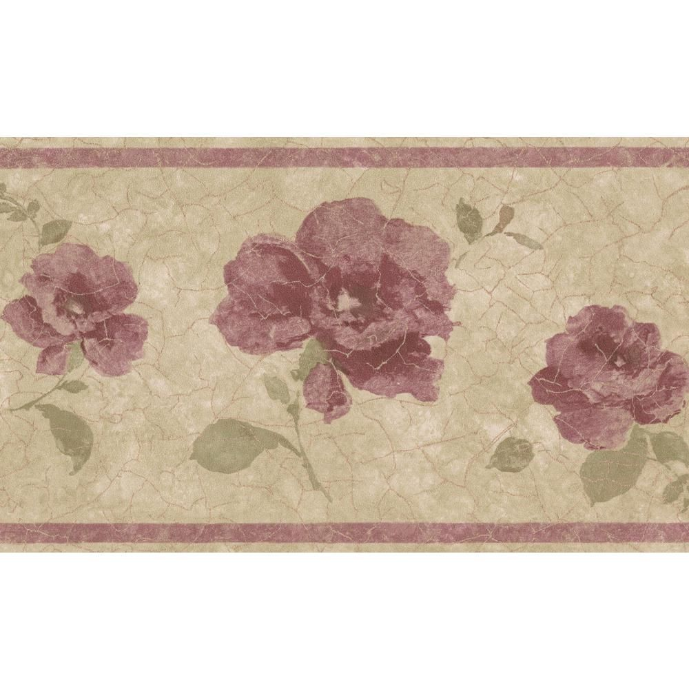 Retro Art Purple Pink Roses Vintage Floral Prepasted Wallpaper