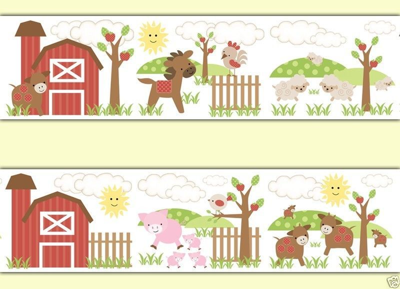 Barnyard Farm Animals Wallpaper Wall Border Decals Baby Nursery Kids ...