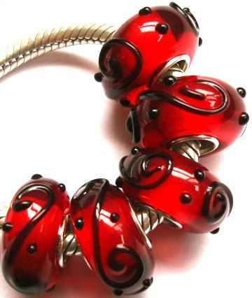 Red black glass bead Charm for lampwork large hole by cheetaah, $8.99