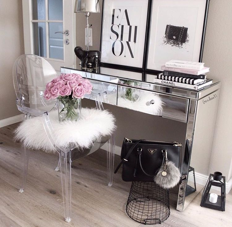 Mirrored Desk Inspiration Decor Ideas White And Pink Home Flower Arrangement Black