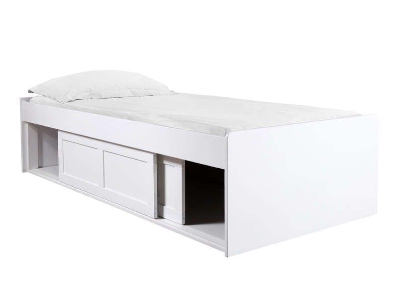 Lit Sureleve 90x190 200 Cm Belem Coloris Blanc Pas Cher C Est