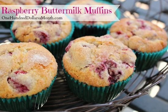 Raspberry Buttermilk Muffins One Hundred Dollars A Month Berries Recipes Raspberry Muffin Recipes Breakfast Sweets
