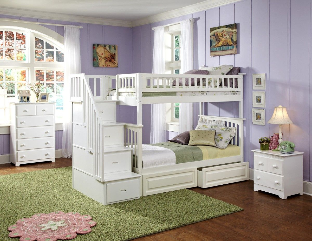 columbia staircase bunk bed twin over twin with 2 raised panel bed