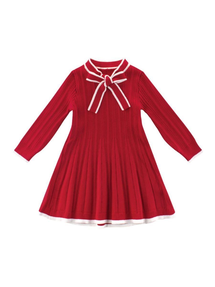 Kid Girl Bowknot Sweater Dress Dresses Gowns For Girls Sweater Dress [ 1200 x 900 Pixel ]