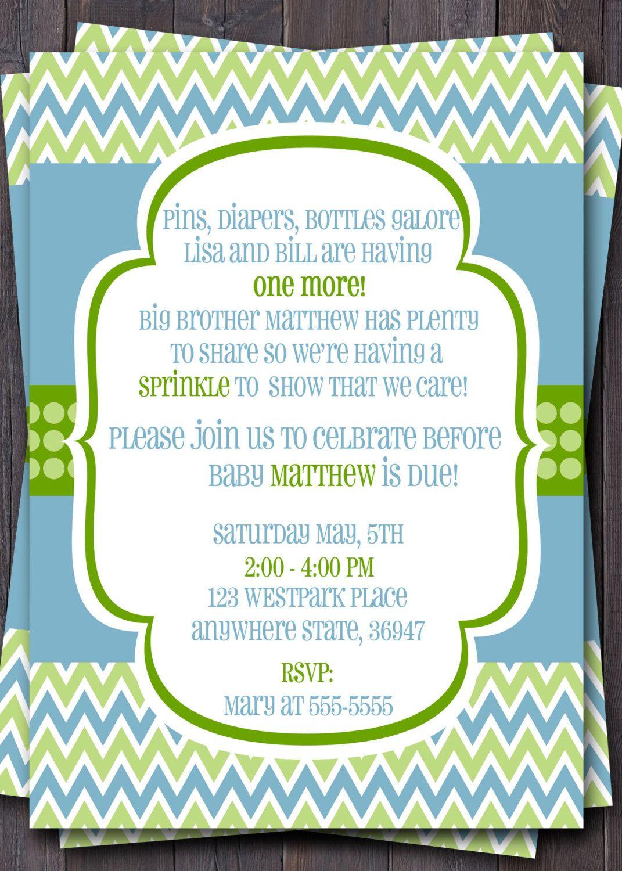 Modern Chevron Baby Sprinkle, Baby Shower, or Sip n See Invitation ...