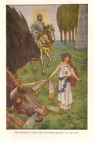 Story of St. George and the Dragon, from Heroic Legends by Agnes Grozier Herbertson. Illustrated by Helen Stratton. Published in London, 1908. American version