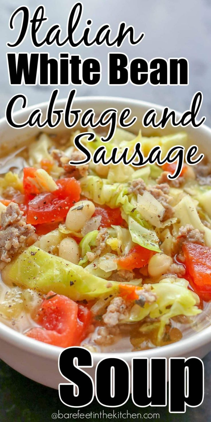 Photo of Italian White Bean, Cabbage, and Sausage Soup