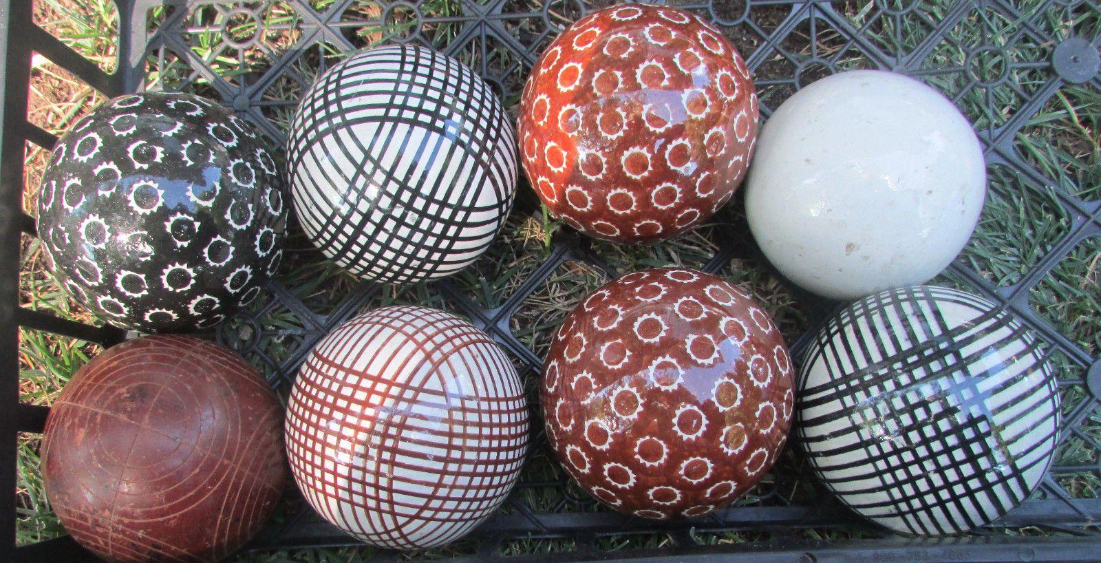 Original Antique Victorian Ceramic Solid Carpet Ball Brown Plaid Design Carpet Bowls Antiques Carpet