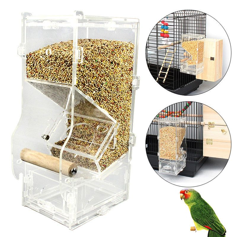 feeder bird parrot mess canary finch acrylic feeders awesome ideas pet photo tidy x cockatiel of toys no seed