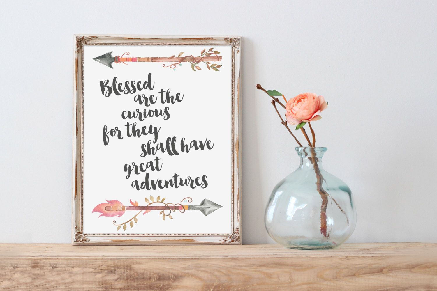 Great adventures nursery art print blessed are the curious quote