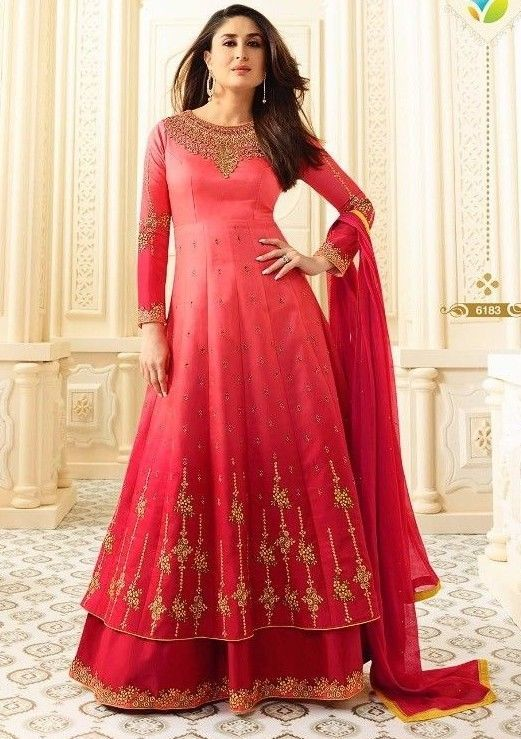 Indian Designer Bollywood Party wear Gown Style Red Salwar Kameez ...