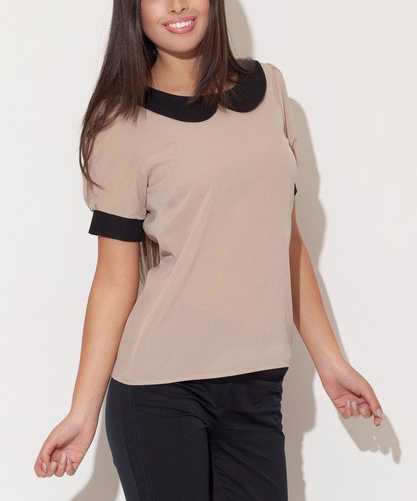 Look at this Katrus Beige & Black Peter Pan Top on #zulily today!